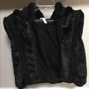 Faux Fur Black Hoodie Vest XXL